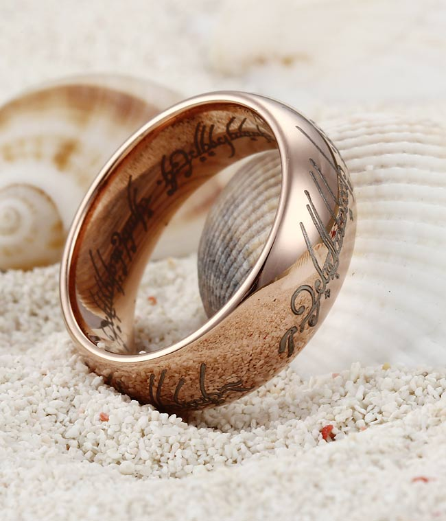 The One Ring from Lord of the Rings is engraved in Elvish, a language invented by J. R. R. Tolkien.
