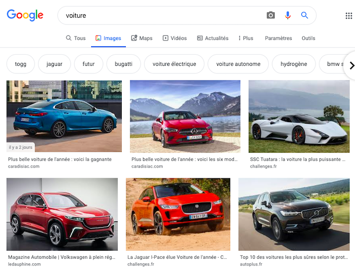 Example of using Google image search as an online dictionary