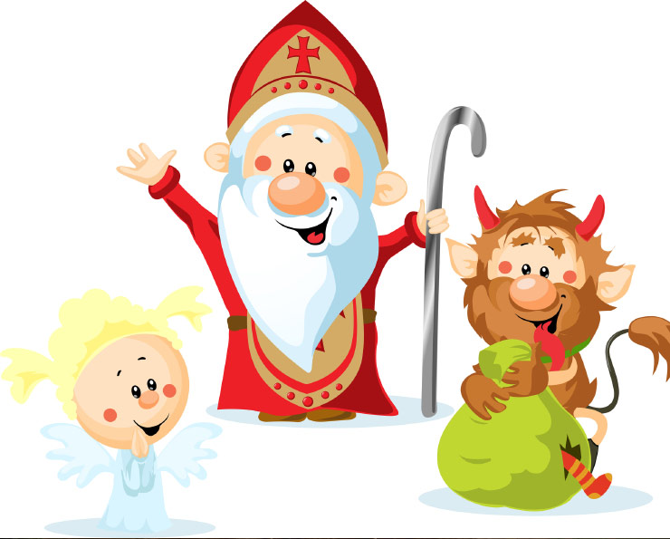 The Christmas devil and angel. And St. Nicholas.