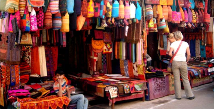 An indian shop with colorful items
