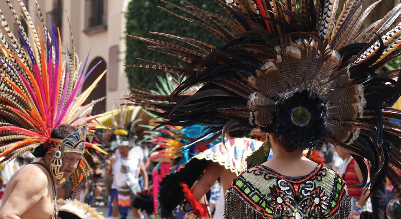 Nahuatl people in traditional clothing