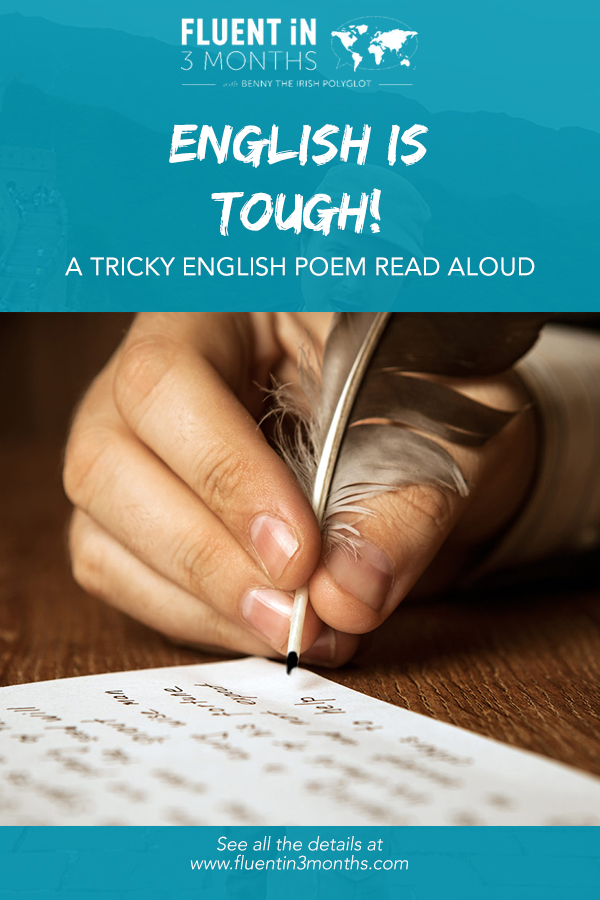 English is tough stuff! Tricky English poem read aloud with IPA indications, and with funny images